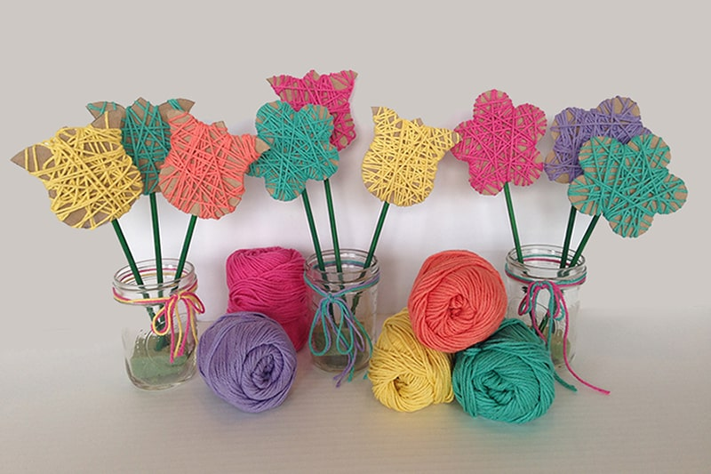 Yarn Wrapped Spring Flowers