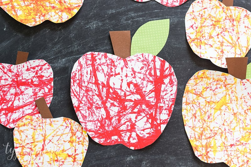 Marble Painted Paper Apples