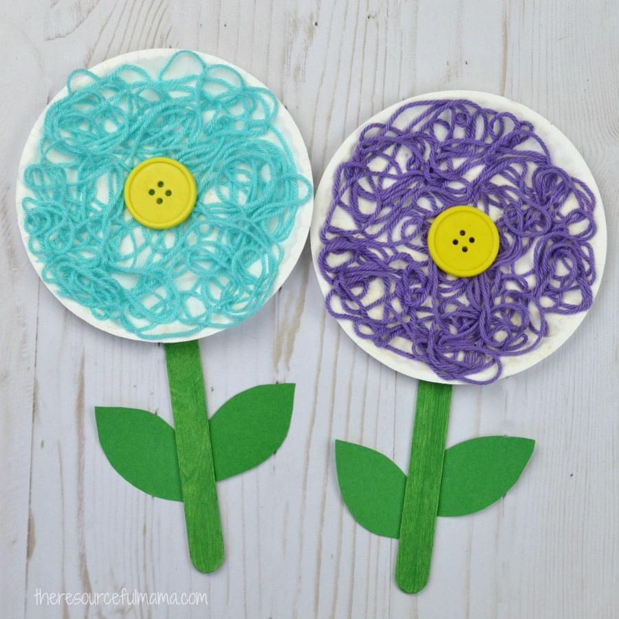 Flower Collage With Yarn